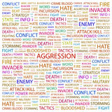 AGGRESSION. Word cloud illustration. Tag cloud concept collage Royalty Free Stock Photography