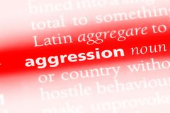 Aggression. Word in a dictionary.  concept royalty free stock photos