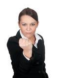 aggressiv affärskvinna Arkivbild