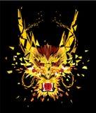 Aggressiv asiatisk drake i låg polygonstil, geometrisk modell, Arkivfoton