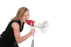 aggressiv attraktiv blond kvinna för affär 4 Arkivbild