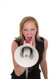 aggressiv attraktiv blond kvinna för affär 5 Arkivfoton