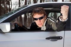 aggressiv chaufför Arkivfoto