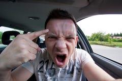 aggressiva bilchaufförer Arkivfoto