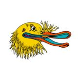 Aggressiva Kiwi Bird Graffiti Color vektor illustrationer
