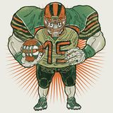 Aggressive american football player holding ball. Vector illustration of a muscular american football player holding ball. Front view. This vector clip art Royalty Free Stock Image