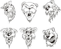 Aggressive animal heads. Set of black and white vector tattoo designs Stock Photos