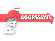 Aggressive Arrow Over Word Passive Action Vs Inaction Attitude. An arrow with the word Aggressive jumps over the term Passive to illustrate the power and Stock Photo