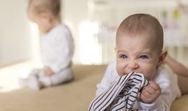 Aggressive baby biting his pants. In the background is a twin sister Stock Photos