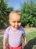 Aggressive baby. Vertical photo, photo took in New Zealand, girl is 19 month royalty free stock photography
