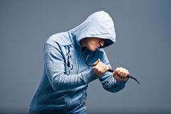 Aggressive bandit with a crowbar Royalty Free Stock Photography