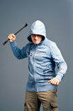 Aggressive bandit with a crowbar Royalty Free Stock Photos