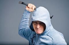 Aggressive bandit with a crowbar Stock Photography