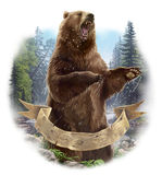 Aggressive bear. Raster illustration. The bear in the attack Royalty Free Stock Images