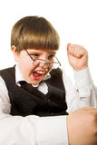 Aggressive boy. Isolated on the white background Stock Images