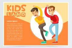 Aggressive boy bullying classmate, demonstration of school teenage bullying and aggression towards other child, kids. Land banner flat vector element for Stock Images