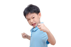 Aggressive boy over white. Aggressive boy isolated over white background Royalty Free Stock Images