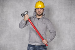 Aggressive builder can be dangerous Royalty Free Stock Photo