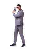 The aggressive business manager with handgun isolated on white Royalty Free Stock Photo