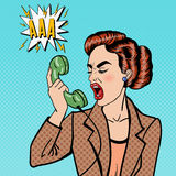 Aggressive Business Woman Screaming into the Phone. Pop Art Royalty Free Stock Photos