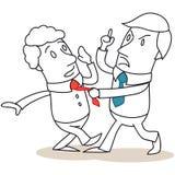 Aggressive businessman attacking colleague. Vector illustration of a monochrome cartoon character: Aggressive businessman attacking colleague Royalty Free Stock Photos
