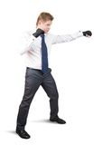 Aggressive businessman boxer Stock Photos