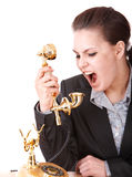 Aggressive  businesswoman  with   phone. Royalty Free Stock Photography