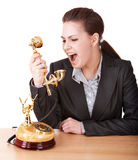 Aggressive businesswoman with phone. Stock Photo