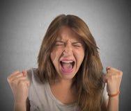 Aggressive businesswoman screams Stock Image