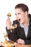 Aggressive  businesswoman  talking by   phone. Royalty Free Stock Photo