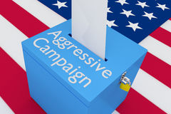 Aggressive Campaign concept. 3D illustration of Aggressive Campaign scripts on a ballot box, with US flag as a background Stock Photography