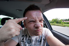 Aggressive car drivers Stock Image