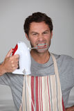 Aggressive chef Stock Images