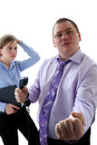 Aggressive chief. Aggressive man and young girl Royalty Free Stock Photo