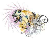 Aggressive colorful lioness splashes Royalty Free Stock Photo
