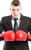 Aggressive and competitive business man Stock Image