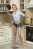 Aggressive cook in a pan, on the background of the Stock Image