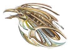 Iron bird mechanical skreamer. Aggressive cute steampunk mechanical gold rooster shouts stock illustration