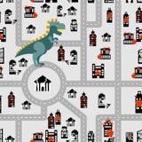 Aggressive dinosaur destroys urban building seamless pattern. An Stock Photos