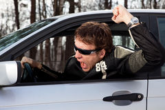 Aggressive driver swearing Royalty Free Stock Photo