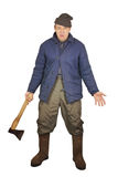 Aggressive drunkard with an axe Royalty Free Stock Photography