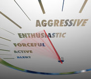 Aggressive Enthusiastic Forceful Active Speedometer Bold Speed. Aggressive and related terms such as enthusiastic, forceful, active and alert on a speedometer or Royalty Free Stock Photography