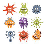 Aggressive Fantastic Monster Microorganisms Set Royalty Free Stock Photography