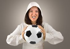 Aggressive female player football Royalty Free Stock Image