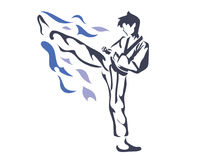 Aggressive Female Taekwondo Athlete In Action Logo. Passionate Young Taekwondo Athlete In Action Stock Image