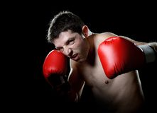 Aggressive fighter man training shadow boxing with red fighting gloves throwing vicious left hook punch. Young aggressive fighter man training shadow boxing with Royalty Free Stock Image