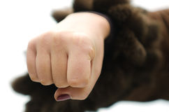 Aggressive fist of woman Royalty Free Stock Photo