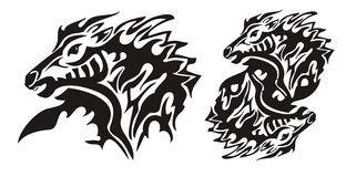 Aggressive flaming horse. Tribal horse head and double horse sing ready for vinyl cutting Royalty Free Stock Images
