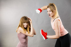 Aggressive Frauen, die unter Verwendung der Schuhe mit Frau kämpfen Lizenzfreies Stockfoto