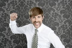 Aggressive funny retro mustache businessman Stock Photos